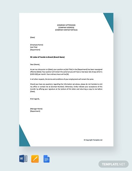 Free Employee Transfer Letter One Branch Another Lettering