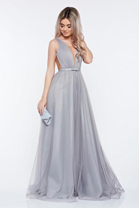 Ana Radu occasional net grey dress with v-neckline bow accessory