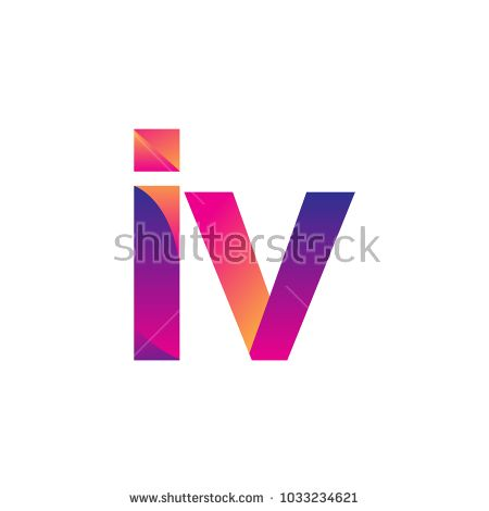 Initial Letter Iv Logo Lowercase Magenta And Orange Modern