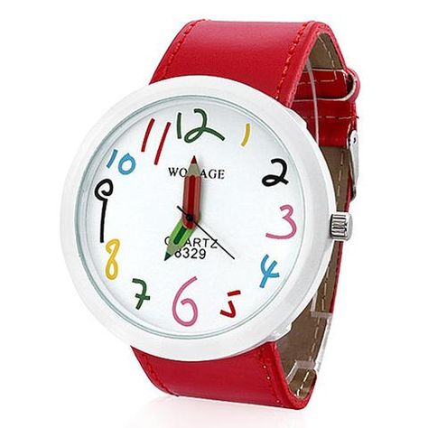 Fashion Cute WoMaGe Leather Straps Casual Watch For Children Big Dial Children Cartoon Watches Boy and Men's Quartz Watches