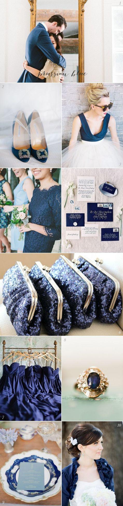 Lovely Prussian Blue wedding inspiration #blueweddingideas