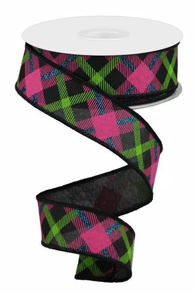 1 5 Printed Plaid Ribbon Black Lime Green Pink 10 Yard Plaid Ribbon Lime Green Wreath Supplies