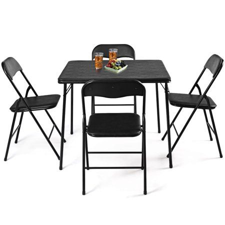 Costway 5pc Black Folding Table Chair Set Guest Games Dining Room Kitchen Multi Purpose Walmart Com Dining Table In Kitchen Foldable Dining Table Folding Dining Table