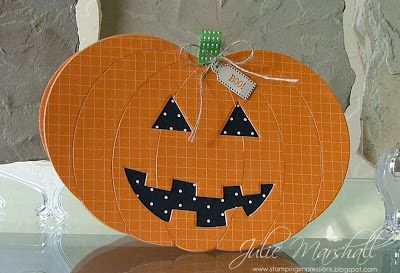 Stampin' Up! ... handmade Halloween card from Stamping Impressions ... Jack-o-Lantern shaped card put together from die cut ovals ... luc rhw black paper with polka dots in the eyes and mouth ... fab card!