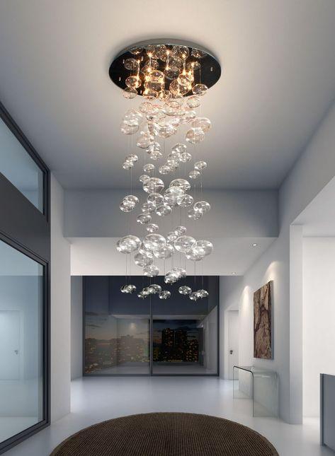 The Key to Successful Modern Chandelier Lighting for Foyer or High Ceiling - kindledecor Modern Glass Pendant Light, Ceiling Lamp, Glass Chandelier, Lamp, Ceiling Lights, Chandelier Lighting, Bubble Chandelier, Glass Ceiling Lights, Chandelier