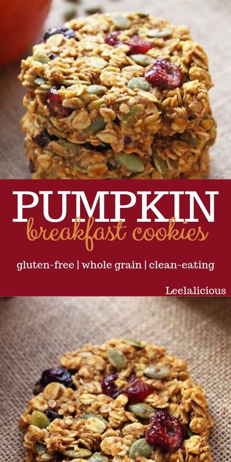 PUMPKIN BREAKFAST COOKIES These pumpkin flavored healthy cookies make a great seasonal grab-and-go breakfast. With hearty wholegrain oats, cranberries and pumpkin seeds. Healthy Cookies, Healthy Snacks, Healthy Breakfast Cookies, Diabetic Snacks, Healthy Cookie Recipes, Clean Recipes, Baking Recipes, Flour Recipes, Pumpkin Breakfast Cookies