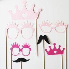 Lot de 7 accessoires photobooth anniversaire princesse - fuchsia-rose-noir