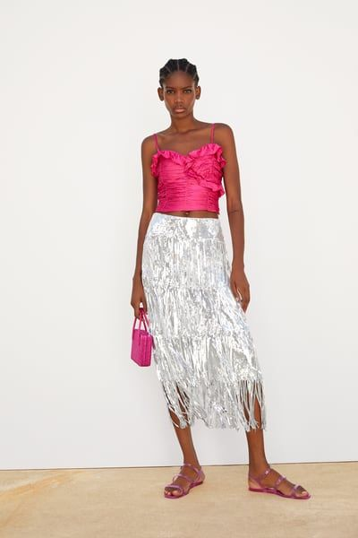 865c1785e4 ZARA - Female - Limited edition fringed sequin skirt - Silver - Xs ...
