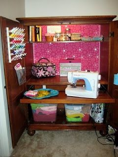 Turn computer armoire into a sewing station.or scrapbooking station since I don't sew