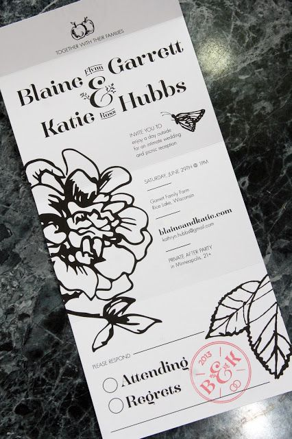 Self folding invitations for wedding