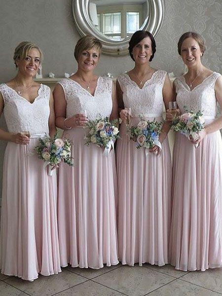 Gorgeous A Line Pink Long Bridesmaid Dress With White Lace Top Bridesmaid Dresses 2018 White Bridesmaid Dresses Bridesmaid Dresses Lace Top
