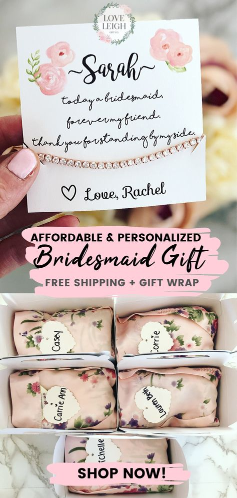 "Affordable & personalized bridesmaid gift that is the perfect surprise your girls will love! Timeless bridesmaid gift idea. This ""will you be my bridesmaid?"" gift is a must-have. FREE gift wrap and FREE shipping! Check out more wedding favors, bridesmaid gift box at Love Leigh Gift Co. Cheap Best Bridesmaid Jewelry.  #weddings #bridesmaidideas #bridesmaidgiftideas #bridesmaidgift #bridalparty #bridesmaidproposal #bridesmaidpartygift #willyoubemybridesmaid #bridesmaidjewelry #bridalpartyproposal"