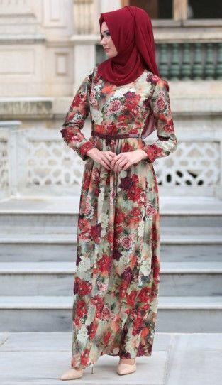 2019 Tesettur Cicekli Elbise Modasi Cicekli Elbise Elbise Modelleri Elbise
