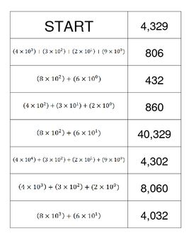 expanded form using exponents worksheets  Expanded Form With Exponents Dominoes Train | Products ...