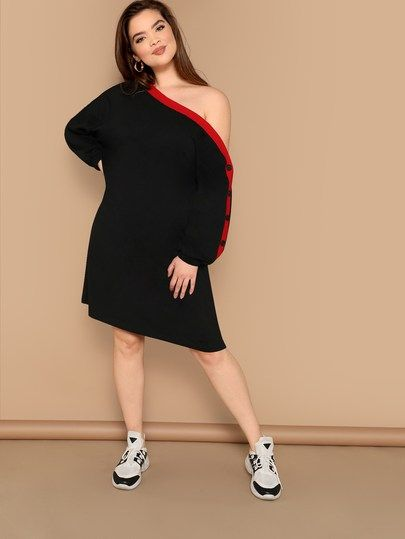 383dfa5f96089 Plus Drop Shoulder Buttoned Sleeve Tunic Dress  swdress07181229401  -   34.00   cuteshopp.com