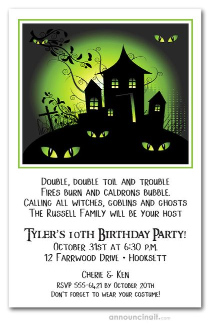 Green Haze Haunted House Halloween Invites Haunted House Halloween Party Halloween House Party Halloween Birthday Invitations