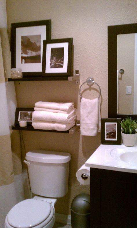 Small bathroom- decorative storage above toulet #bathroom #decorating