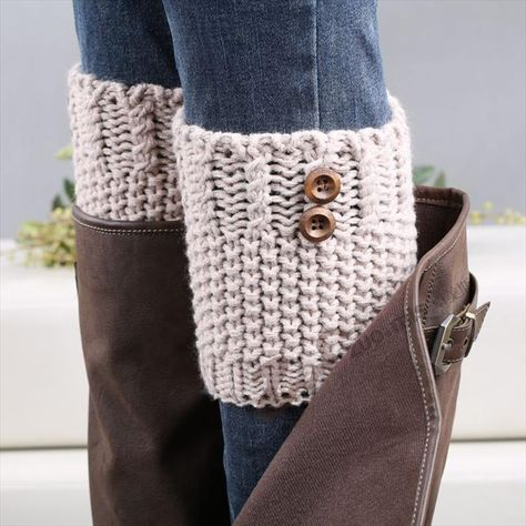 Crochet Boot Cuff Leg Warmer Cream