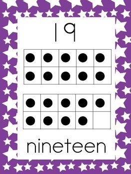 0-20 Number Posters with ten frames purple with stars