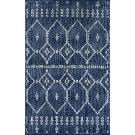 Tayse Rugs Veranda Navy 2 Ft X 3 Ft Outdoor Accent Rug Blue Accent Rugs Rugs Colorful Rugs