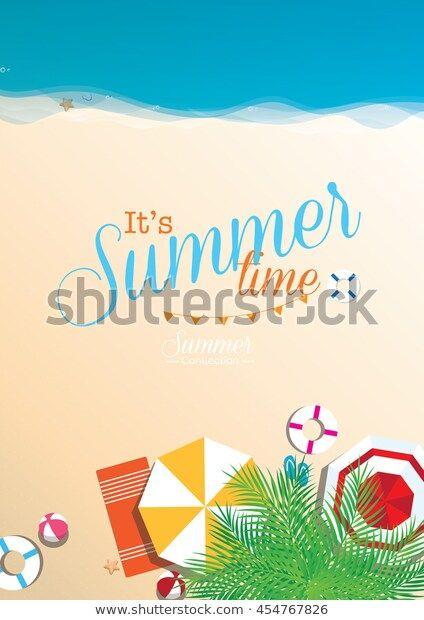 Colorful Summer Beach Vector Background Top เวกเตอร สต อก ปลอดค าล ขส ทธ 454767826 ภาพประกอบ
