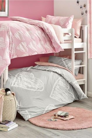 2 Pack Pink And Grey Hearts Duvet Cover And Pillowcase Set Childrens Bedroom Furniture Bedroom Furniture Gray Duvet Cover