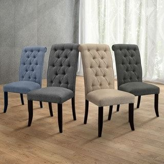 Furniture Of America Sheila Button Tufted Flax Dining Chairs Set