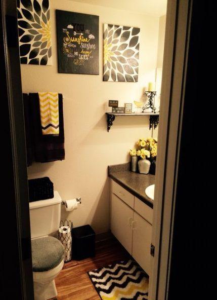 Apartment Bathroom Ideas Yellow Grey 58 Ideas Restroom Decor Black Bathroom Decor Yellow Bathroom Decor