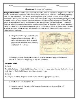 Vietnam War Draft Card And 26th Amendment Worksheet With Answer