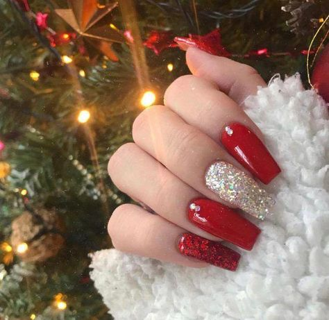 red nails Glitter Acrylics Pinterest Hashtags, Video and