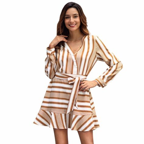 cc9a85cde1 Ruffle Striped Mini Dress Long Sleeve Women Sexy Dress Club Wear Spring  Autumn Red Lace Up