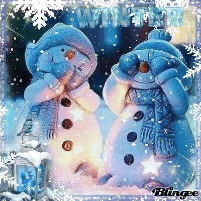 Snowmen in the winter night