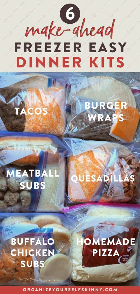 Make ahead freezer meals: My 6 Favorite Freezer Meal Kits! - Organize Yourself Skinny - - Freezer meal kits are hands down one of my favorite make ahead freezer meals. They assure I have everything needed for dinner to keep the work week sane. Freezer Friendly Meals, Make Ahead Freezer Meals, Crock Pot Freezer, Freezer Cooking, Freezer Dinner, Meal Prep Freezer, Freezer Meal Recipes, Make Ahead Healthy Meals, Plan Ahead Meals