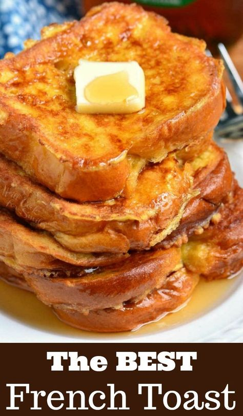 The BEST French Toast. This is the best French Toast recipe that features soft, buttery Brioche bread soaked in sweetened egg mixture. Perfect combination of plush and soft inside and crispy outside texture. recipes breakfast The Best French Toast Awesome French Toast Recipe, Best French Toast, French Toast Recipes, Cinnamon French Toast, Homemade French Toast, Challah French Toast, French Toast Bake, Bread For French Toast, Texas French Toast Recipe