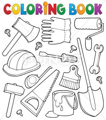 Coloring Book Tools Theme Illustration Stock Illustration Ad Tools Book Coloring Theme Coloring Books Tools Theme Fathers Day Crafts