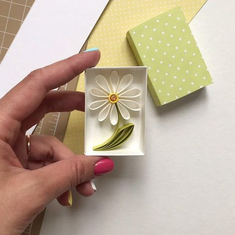 Original handmade card with tiny daisy in match box. Perfect to a Birthday or Anniversary. The unicorn is made in quilling technique. I use high quality paper for making this card. You can choose the words inside the box if you like your own words please let me know in; note from the buyer, after