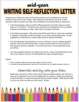 self reflection letter example