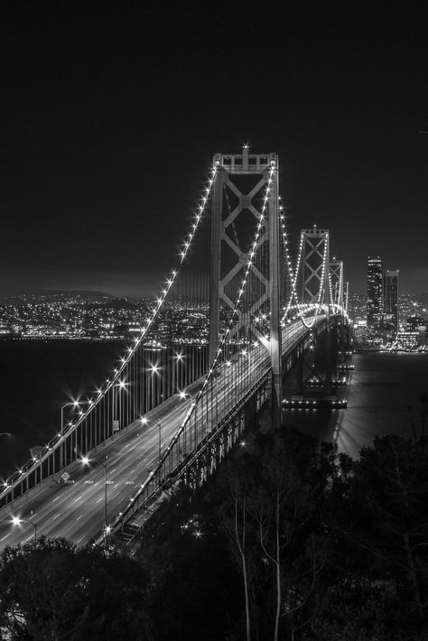 black aesthetic photography Bay Bridge at Night. Shot from Treasure Island Black Aesthetic Wallpaper, Gray Aesthetic, Black And White Aesthetic, Aesthetic Collage, Aesthetic Backgrounds, Aesthetic Wallpapers, Aesthetic Bedroom, Aesthetic Grunge, Aesthetic Vintage