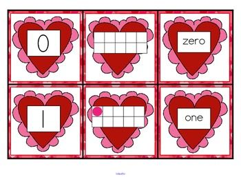 *** FREE  This is a set of number cards with a Valentine's Day theme, 0-10. Three cards for each number - the number, a ten-frame representation, and the number word. Use for recognition, sequence, memory games, flash cards, hiding and finding games, and of course, matching.