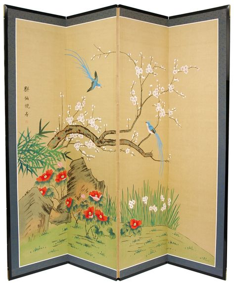 Birds & Flowers are One Room Divider - Free Shipping on all room dividers. Browse over 1,500 unique room dividers and shoji screens in-stock and ready to ship!