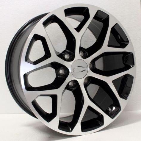 New 20 Inch Chevy Silverado Tahoe Ltz Black And Machined Snowflake Wheels Rims Chevy Silverado Chevy Wheels Rims