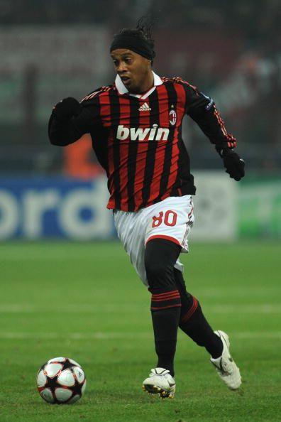 Ronaldinho Of Ac Milan Celebrates The Opening Goal During The Uefa