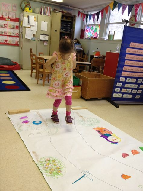 Make a story map of Goldilocks & the 3 Bears – draw a path down the middle of a large piece of paper. Write 'Once upon a time' at one end & 'The End' at the other. Then retell the story with the children & add basic drawings along the sides of the path (e.g. 3 bears/a girl/3 bowls etc) - take turns walking down the path & retelling the story