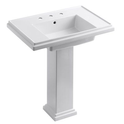 Kohler Tresham Ceramic Pedestal Bathroom Sink With Overflow Sink