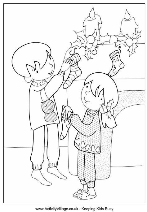 Children hanging up stockings colouring page