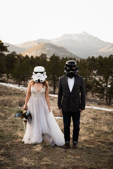 Ideas for planning your elopement! Bride and groom wearing Star Wars costumes on their elopement day in Colorado Wedding Pics, Wedding Themes, Dream Wedding, Wedding Dresses, Wedding Ideas, Nerd Costumes, Star Wars Costumes, Vampire Costumes, Hippie Costume