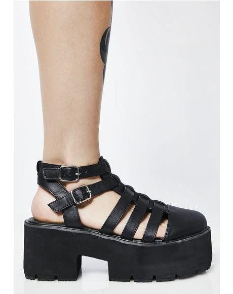 91014b71421d7 Stompin' Around Platform Sandals #dollskill #gardenparty #spring #mididress  #dress #floral #floralprint
