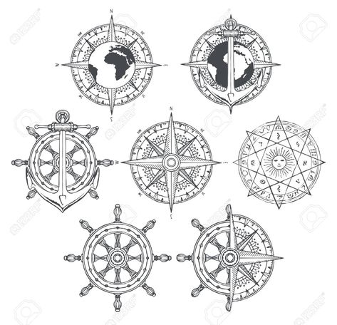 Vector set of nautical emblems. Wind rose, ship anchor and helm in retro style. Black and white outline drawings on the theme of travel, adventure and discovery. T-shirt and label graphics , #Aff, #anchor, #ship, #helm, #style, #retro