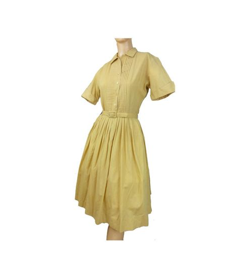 a8086e4d10d222 Gold shirtwaist dress with pleated skirt and belt. Super comfy soft cotton  blend fabric. Easy to wear classic in mustard color!