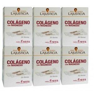 Pack 6u Colageno Con Magnesio Sabor Fresa 20 Stick Ana Maria
